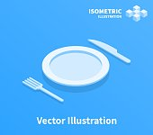 Plate fork and knife icon. Vector illustration.