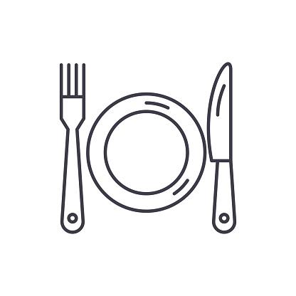 Plate Fork And Knife Line Icon Concept Plate Fork And Knife Vector Linear Illustration Symbol Sign - Immagini vettoriali stock e altre immagini di Arrangiare