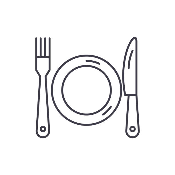illustrazioni stock, clip art, cartoni animati e icone di tendenza di plate, fork and knife line icon concept. plate, fork and knife vector linear illustration, symbol, sign - coltello posate