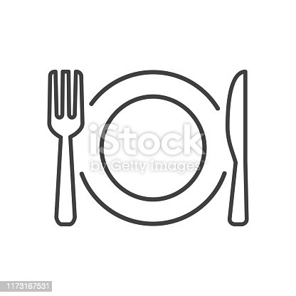 Plate, fork and knife line icons - stock vector