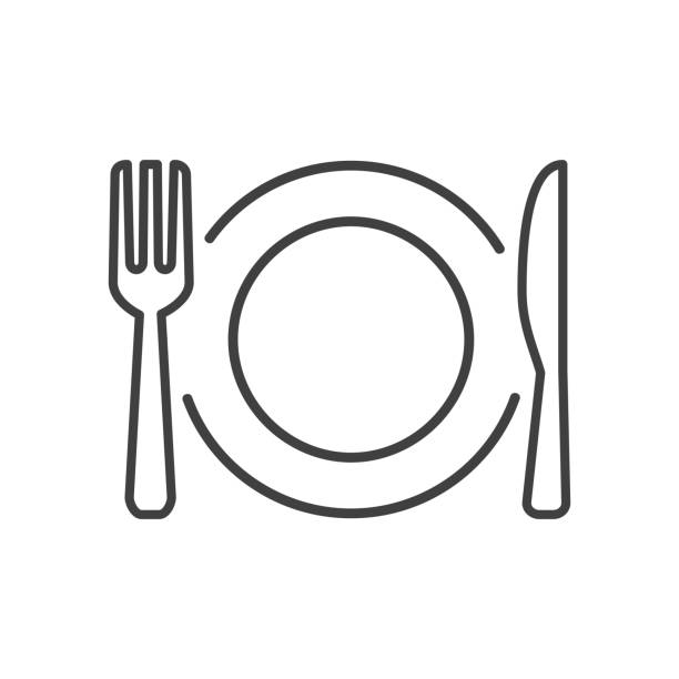 Plate, fork and knife line icons - stock vector Plate, fork and knife line icons - stock vector fork stock illustrations