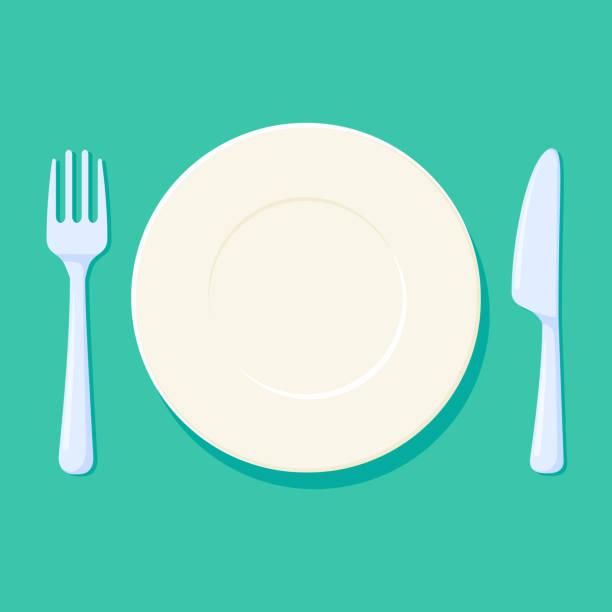 bildbanksillustrationer, clip art samt tecknat material och ikoner med tallrik, gaffel och kniv vektorillustration. plats miljö med bestick. tom och ren kök accessoarer - empty plate