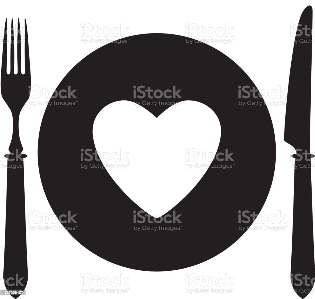 Plate, fork and knife with heart icon. vector art illustration