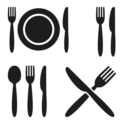 Plate, fork, spoon and knife icons.