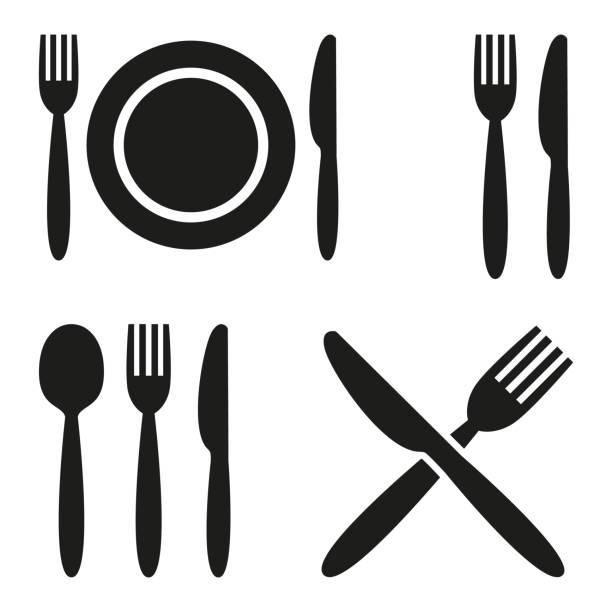 teller, gabel, löffel und messer symbole. - restaurant stock-grafiken, -clipart, -cartoons und -symbole