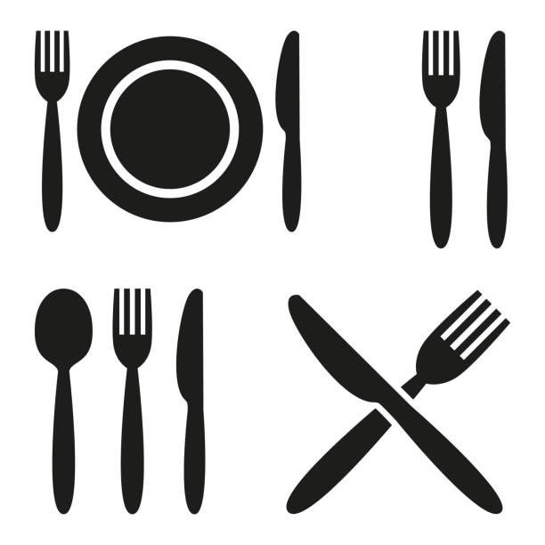 illustrazioni stock, clip art, cartoni animati e icone di tendenza di plate, fork, spoon and knife icons. - cena
