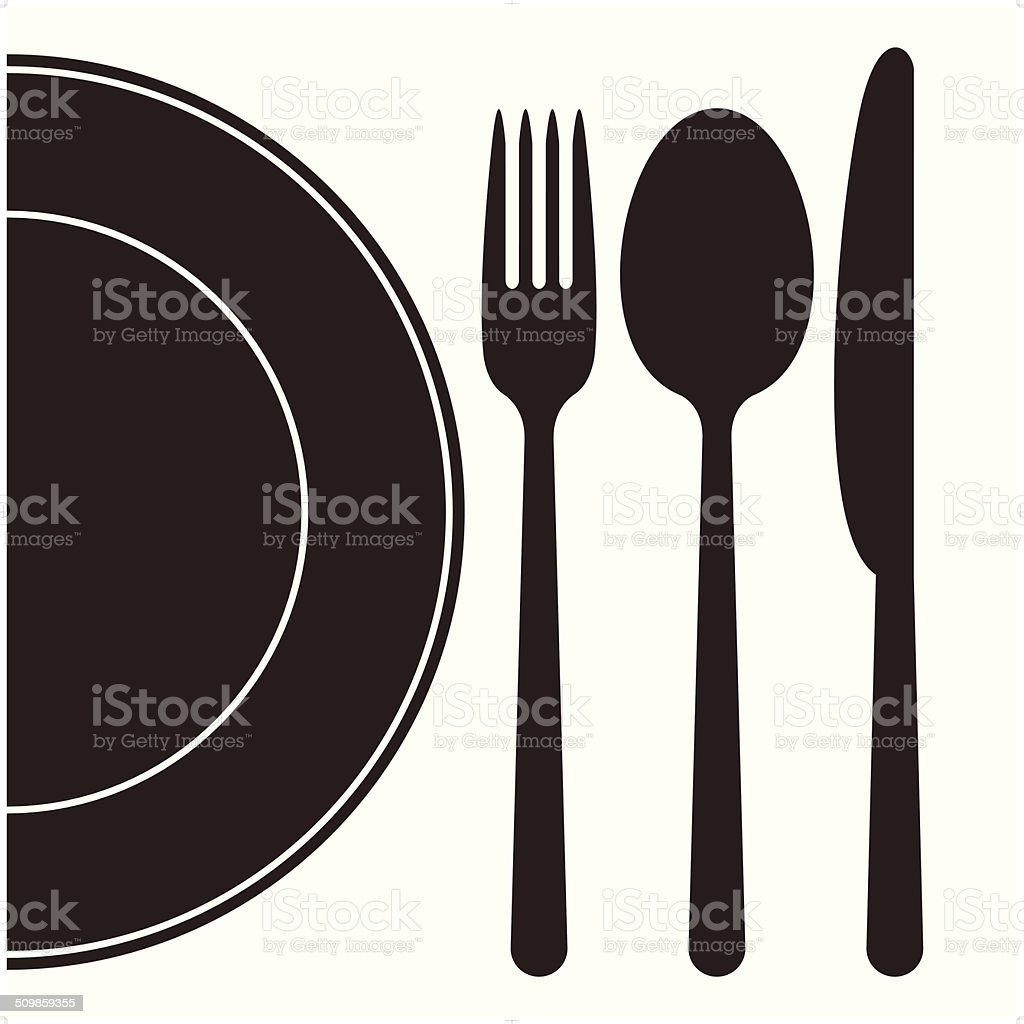 Plate, fork, spoon and knife vector art illustration