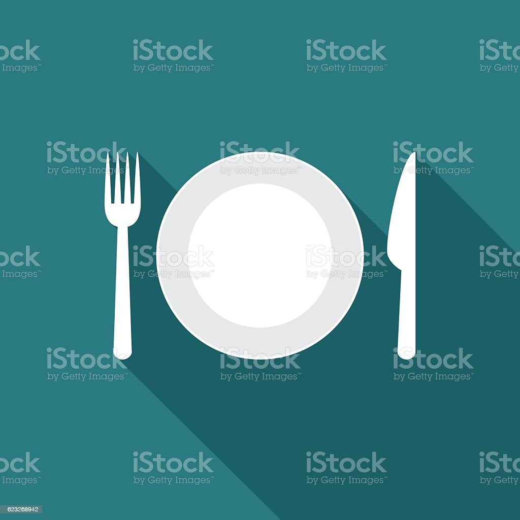 Plate icon with long shadow. - Illustration vectorielle