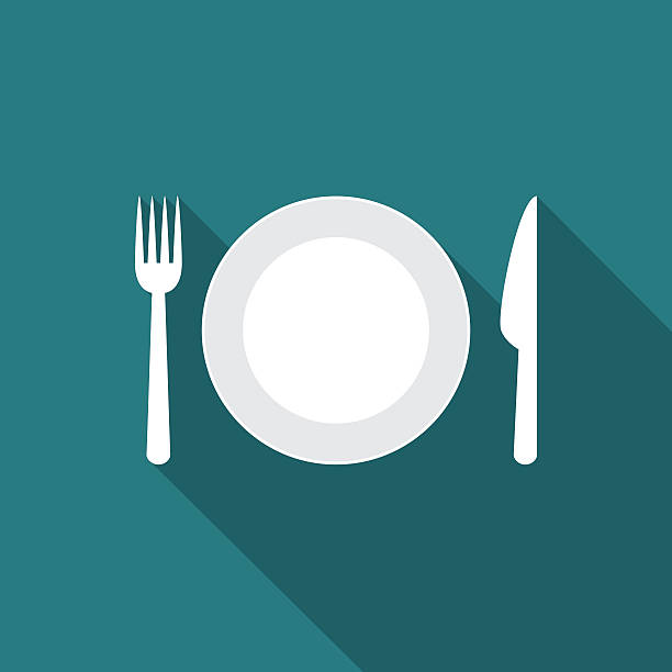 Plate icon with long shadow. vector art illustration