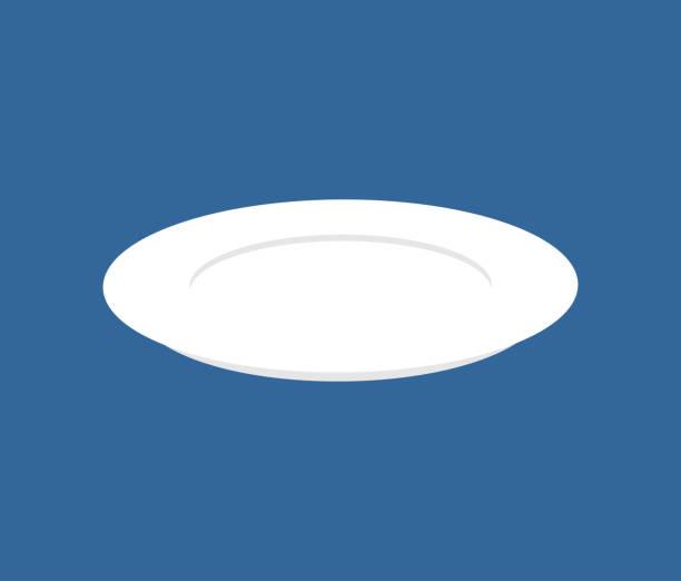 teller isoliert. küchenutensilien auf blauem hintergrund. vektor-illustration - winkelküche stock-grafiken, -clipart, -cartoons und -symbole