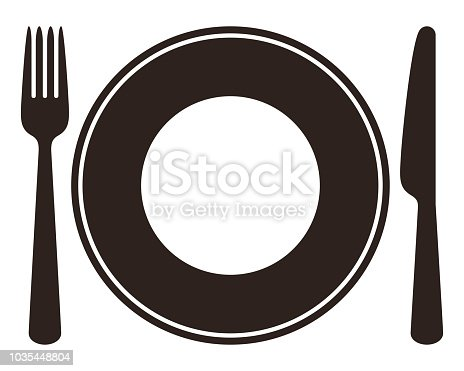 Plate, knife, spoon and fork isolated on white background