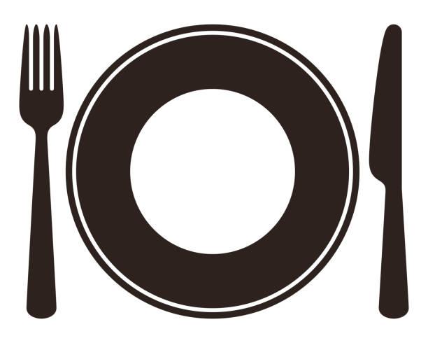 stockillustraties, clipart, cartoons en iconen met plaat, mes en vork - gedekte tafel