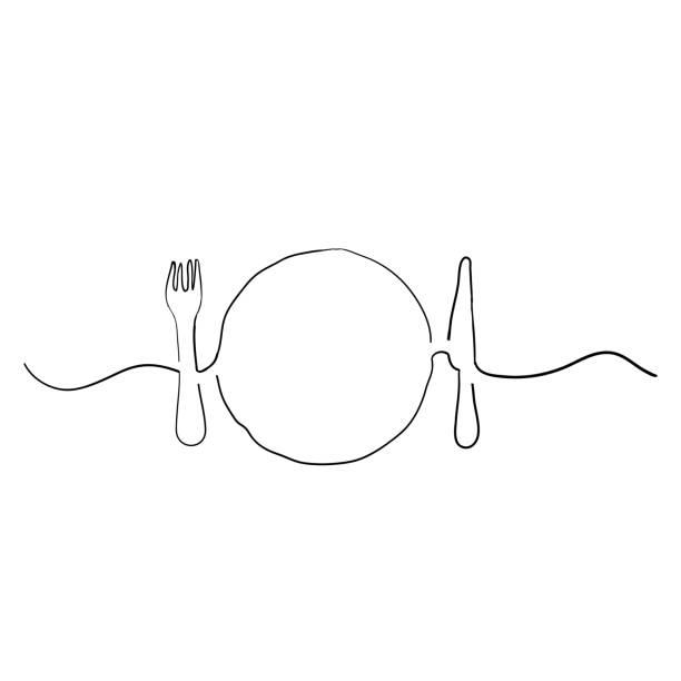ilustrações de stock, clip art, desenhos animados e ícones de plate, knife and fork vector illustration handdrawn doodle style - muita comida
