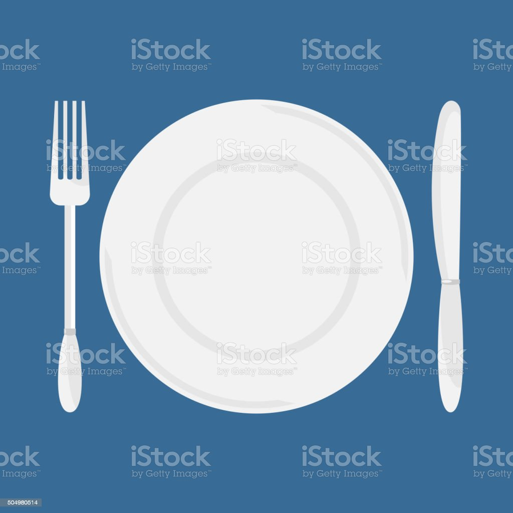 Plate, knife and fork vector. vector art illustration