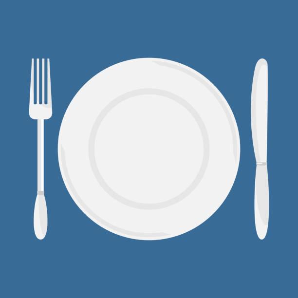 Plate, knife and fork vector. vector art illustration