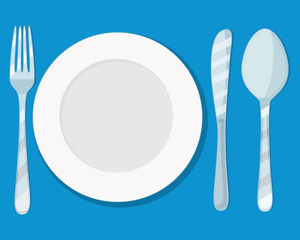 plate knife, spoon and fork icon isolated on blue background. vector illustration in flat style vector art illustration