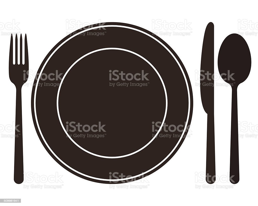 Plate, knife, spoon and fork vector art illustration