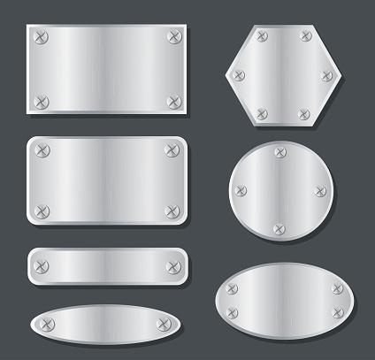 plate metal banner set background vector illustration