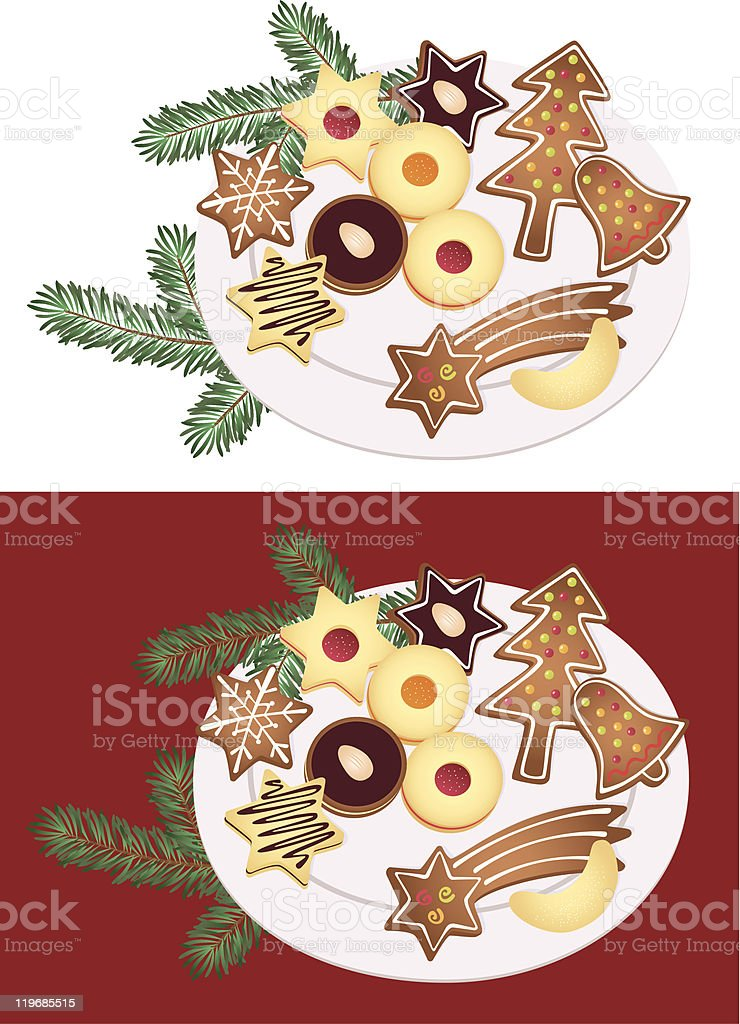 Plate of Christmas cookies royalty-free stock vector art