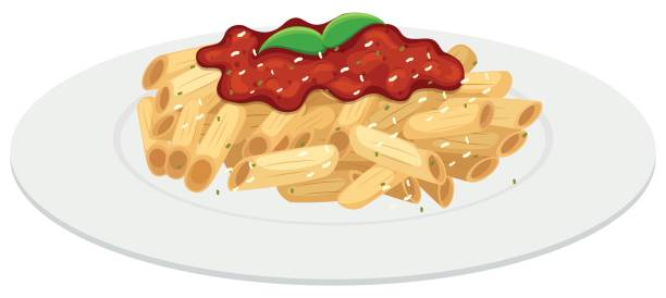 Plate of penne pasta with tomato sauce Plate of penne pasta with tomato sauce illustration tomato sauce stock illustrations