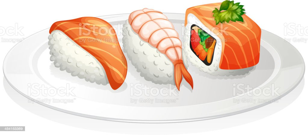Plate of sushi royalty-free stock vector art