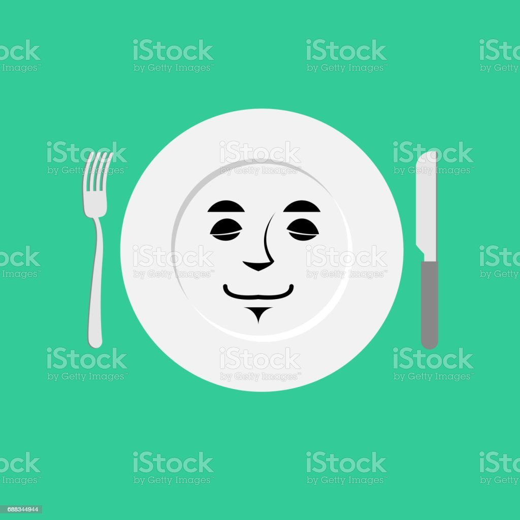 Plate sleeping Emoji. Empty dish isolated asleep emotion vector art illustration