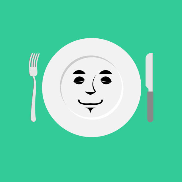 Plate sleeping Emoji. Empty dish isolated asleep emotion vector art illustration
