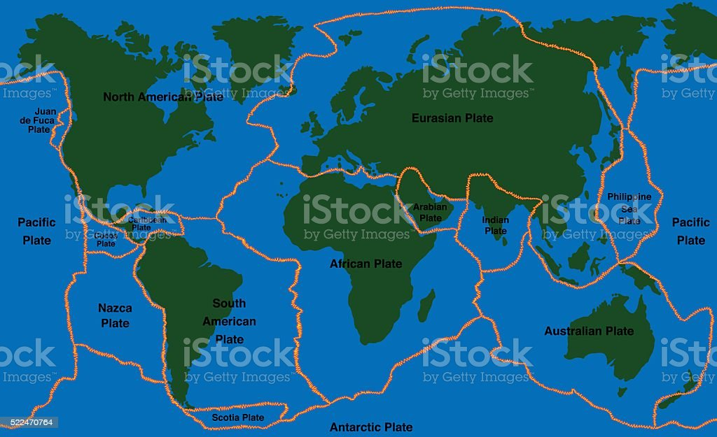 Plate Tectonics World Map Faultlines Stock Vector Art More - World fault lines