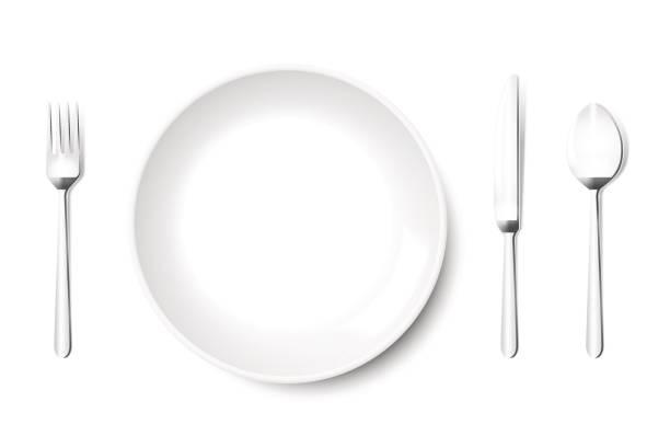 bildbanksillustrationer, clip art samt tecknat material och ikoner med plattan vektor i vitt med kniv gaffel sked i metall grå, isolerad på vit bakgrund. tomt, ovanifrån, från ovan. - empty plate