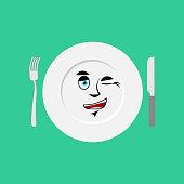 Plate winks Emoji. Empty dish isolated cheerful emotion