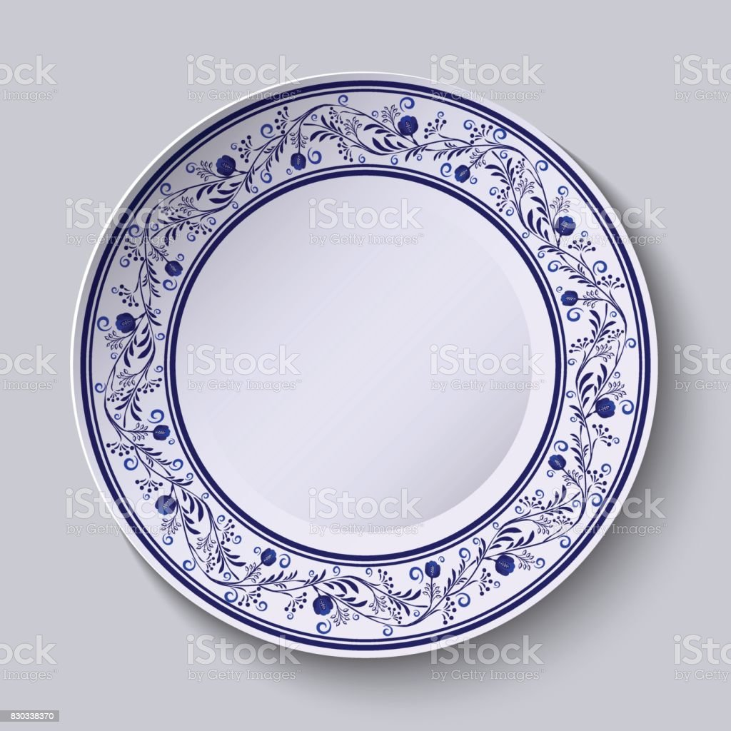 Plate with blue patterned border. Template design in ethnic style Gzhel porcelain painting. vector art illustration