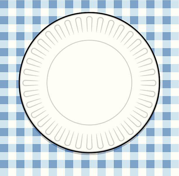 teller mit blau picknick-tischtuch - plastikteller stock-grafiken, -clipart, -cartoons und -symbole