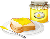 Plate with bread and jar of banana jam