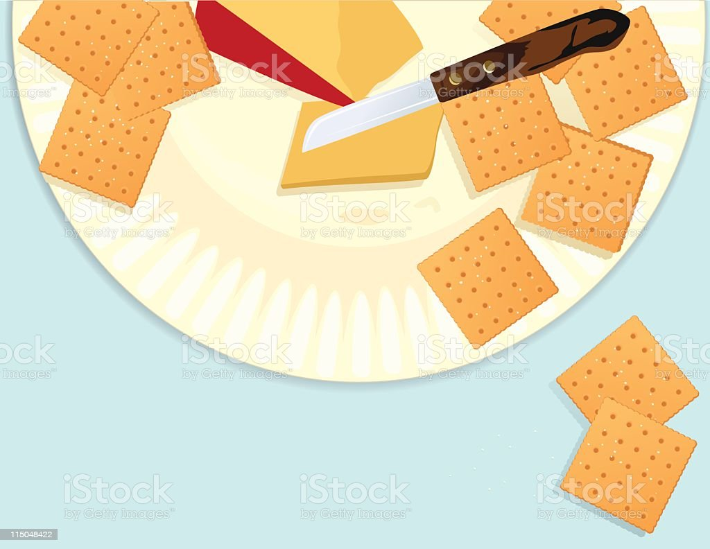Plate With Cheese and Crackers vector art illustration
