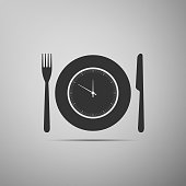 Plate with clock, fork and knife icon isolated on grey background. Lunch time. Eating, nutrition regime, meal time and diet concept. Flat design. Vector Illustration
