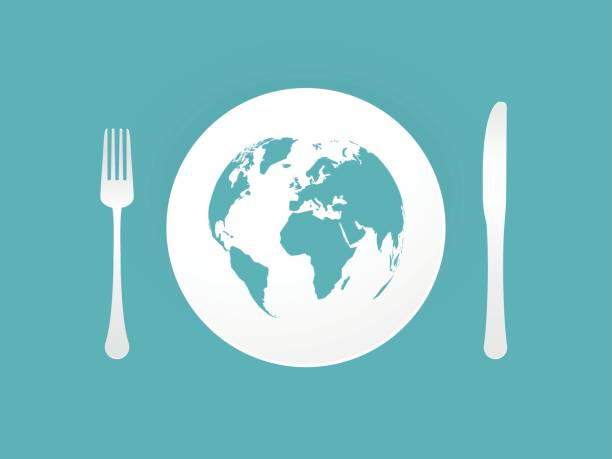 Plate with cutlery and blue world map vector art illustration