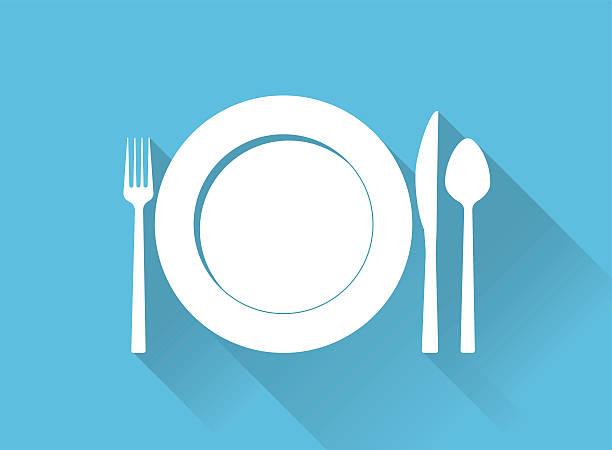 stockillustraties, clipart, cartoons en iconen met plate with cutlery and long shadows - gedekte tafel