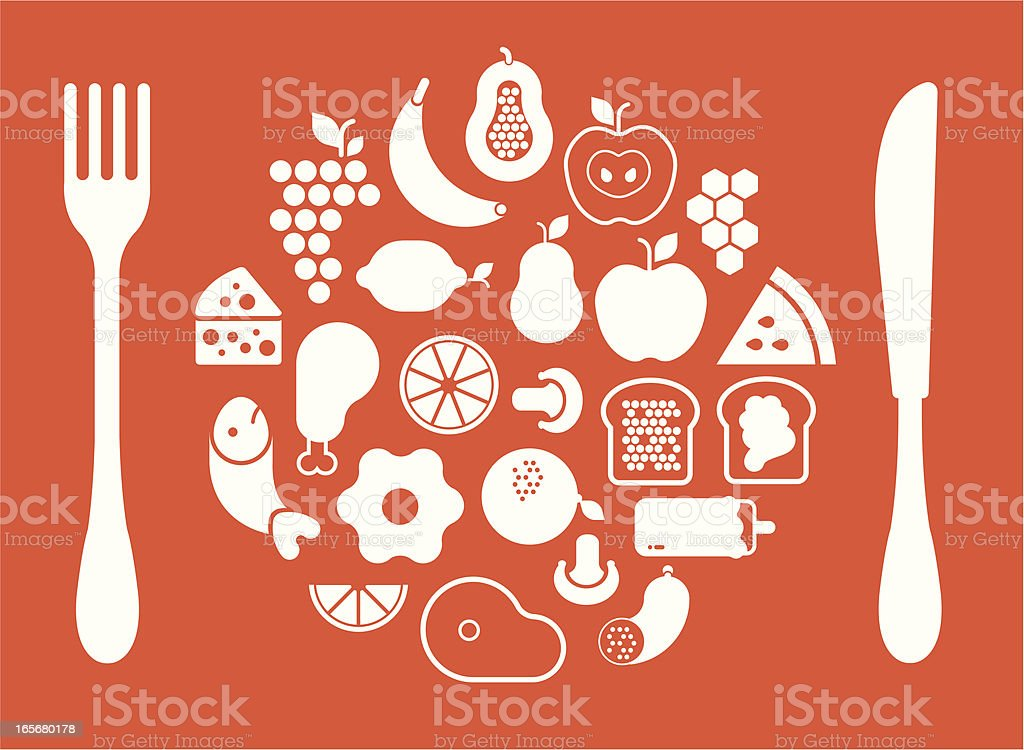Plate with food vector art illustration