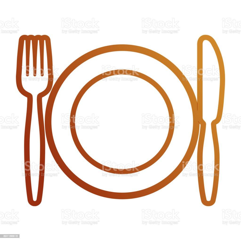 Plato con un tenedor un cuchillo vector illustrati arte for Plato tenedor y cuchillo