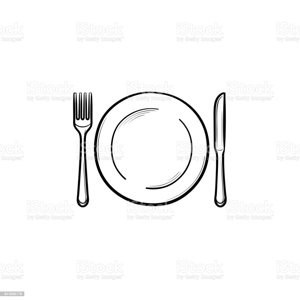 Plate with fork and knife hand drawn sketch icon vector art illustration