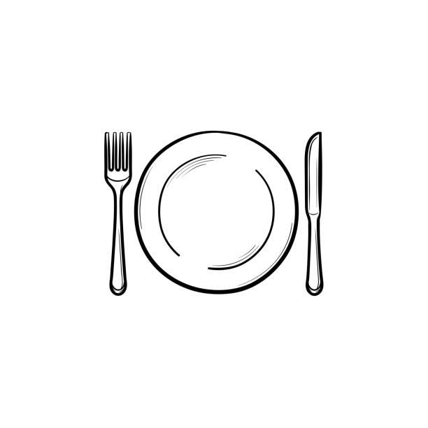 ilustraciones, imágenes clip art, dibujos animados e iconos de stock de plato con tenedor y cuchillo mano bosquejo dibujado el icono - plate