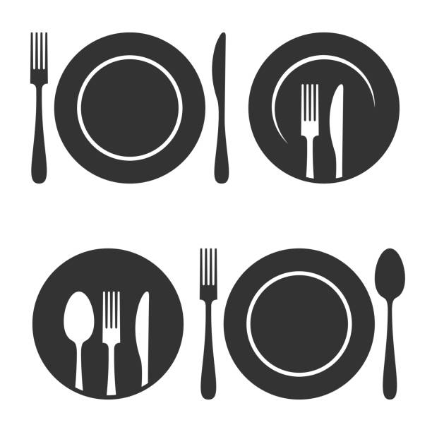 ilustraciones, imágenes clip art, dibujos animados e iconos de stock de plato con tenedor y cuchillo de iconos en fondo blanco - plate