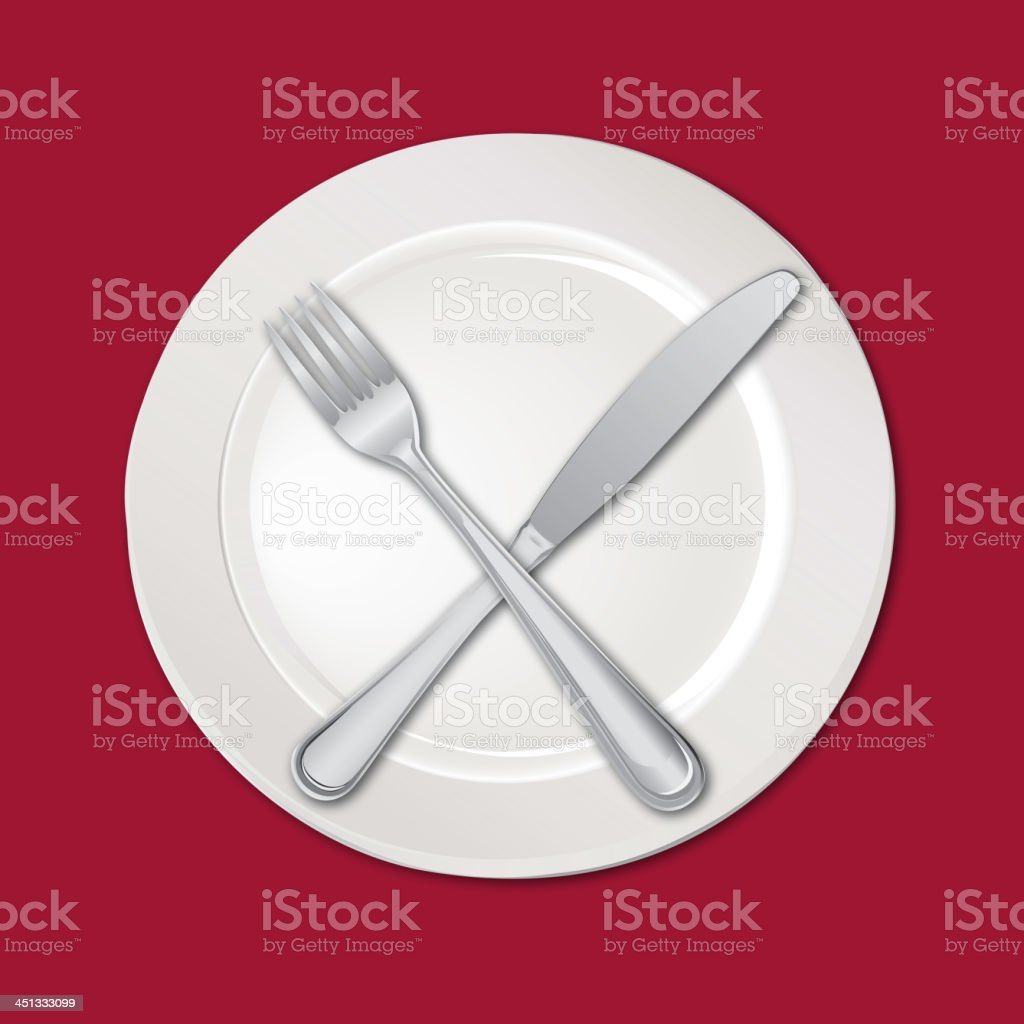 Plate with fork and knife on the red tablecloth royalty-free stock vector art
