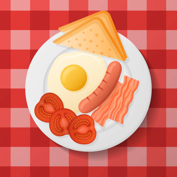 Plate with fried egg, bacon, grilled sausage, tomato and toast vector art illustration