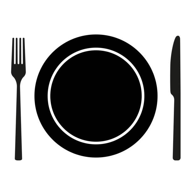platte mit messer und gabel isoliert auf weißem hintergrund - tafelbesteck stock-grafiken, -clipart, -cartoons und -symbole