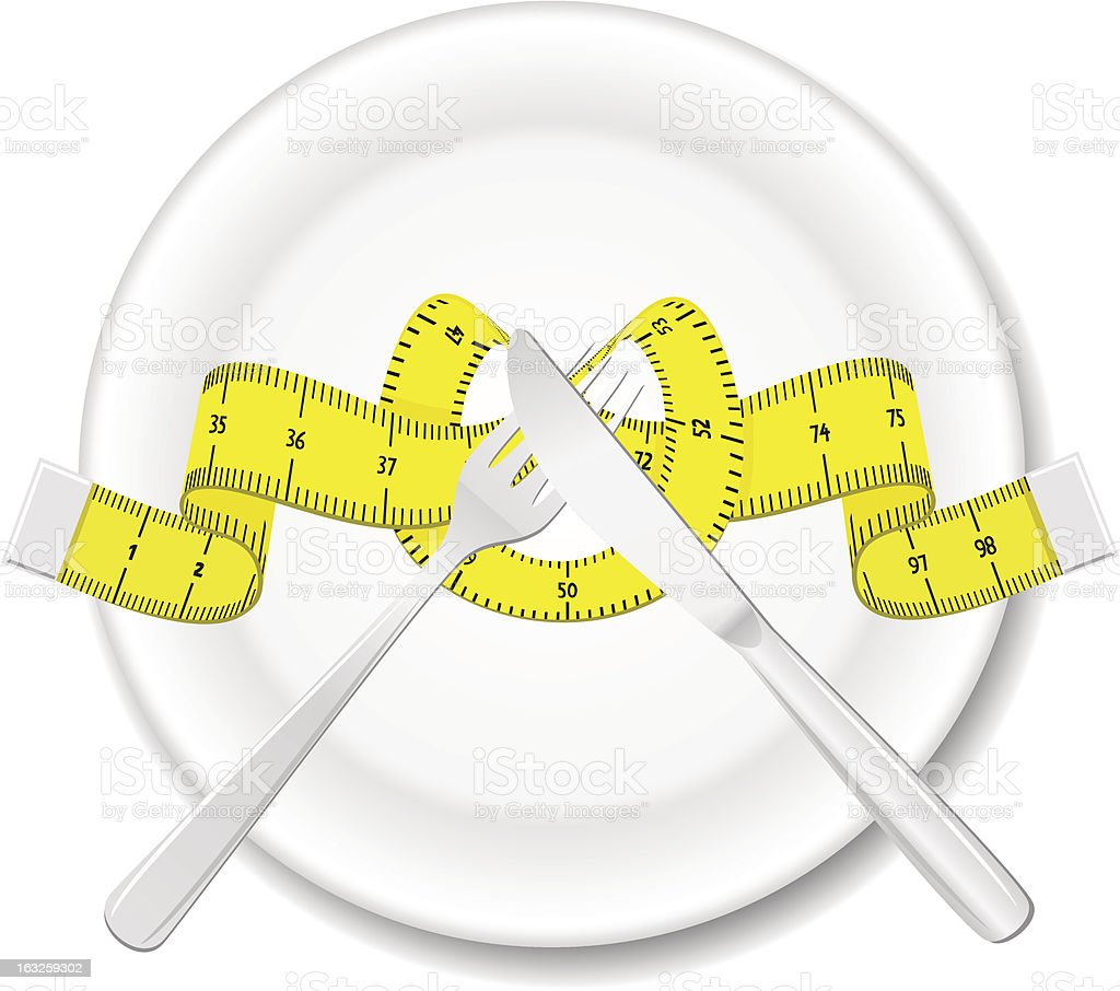 Plate with knife, fork and measure tape royalty-free stock vector art
