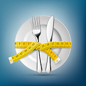 Plate with knife, fork and tailoring centimeter. Dieting and weight loss.