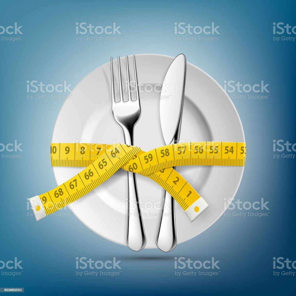 Plate with knife, fork and tailoring centimeter. Dieting and weight loss. vector art illustration