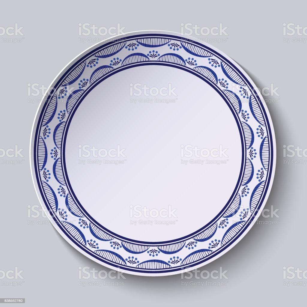 Plaka Porselen Boyama Gzhel Tarzı Süsleme Ile Ince Desen Kenarındaki