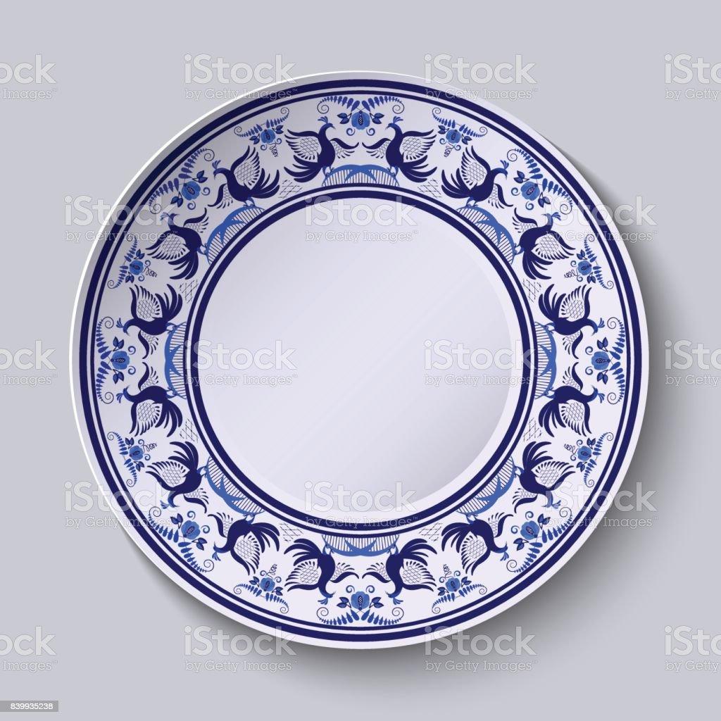 Peinture Sur Porcelaine Assiette plaque avec motif dans le style de peinture sur porcelaine